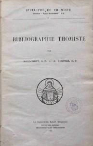 Bibliothèque thomiste, vol. I