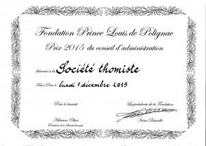 Prix Louis de Polignac Société thomist